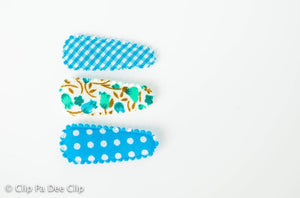 Baby Snap Hair Clips- Blue Dots, Gingham & Floral Print