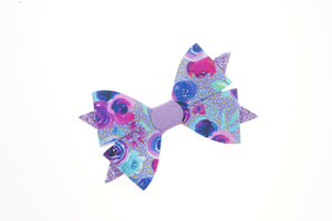 Luella Bow (Large) - Bloom In Blue & Light Purple
