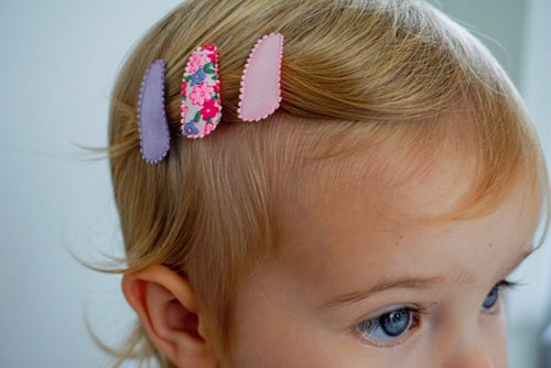Baby Snap Hair Clips - Pink & Lilac Floral