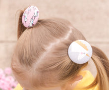 Large Button Hair Tie - Unicorns