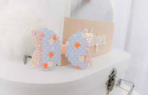 April Combination Bow - Blue & Light Peach Floral