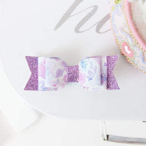 Evie Bow - Purple Spring Floral