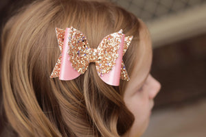 Maeve Bow (Wings) - Pink & Gold Flutter