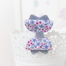 Sadie Bow (Small) - Pink, Light Purple or Navy Blue Floral Print Leather