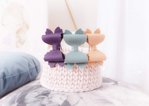 Violet Bow (Large) - Plum, Duck Egg Blue, Apricot Leather