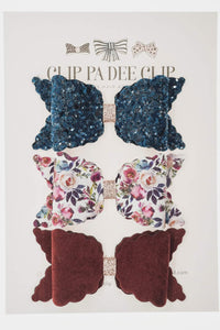 Scallop Bow - Blue, Floral and & Wine (You Choose)