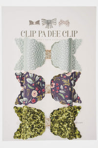 Scallop Bow - Sage Green, Navy Floral and & Olive Green (You Choose)