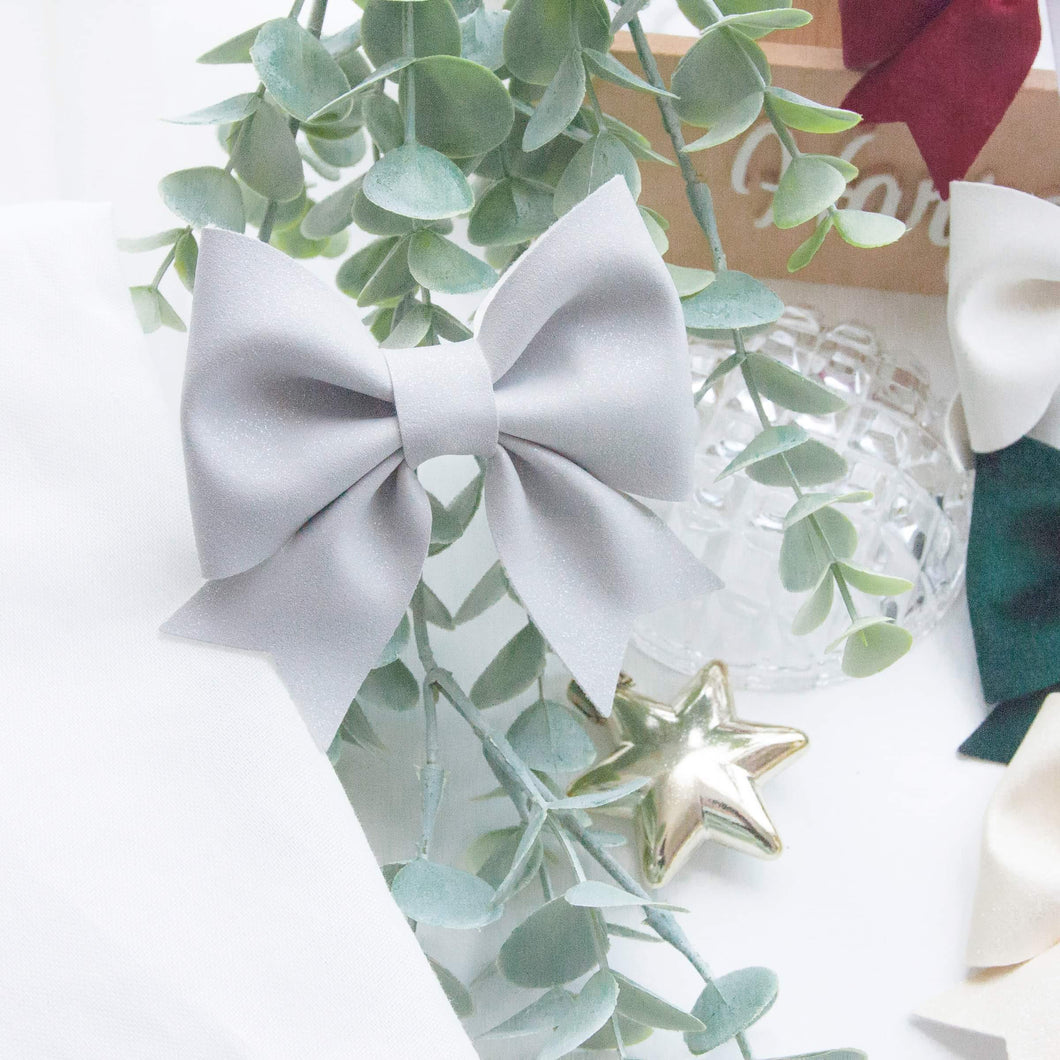 Fancy Sailor Bow- Light Grey Faux Suede