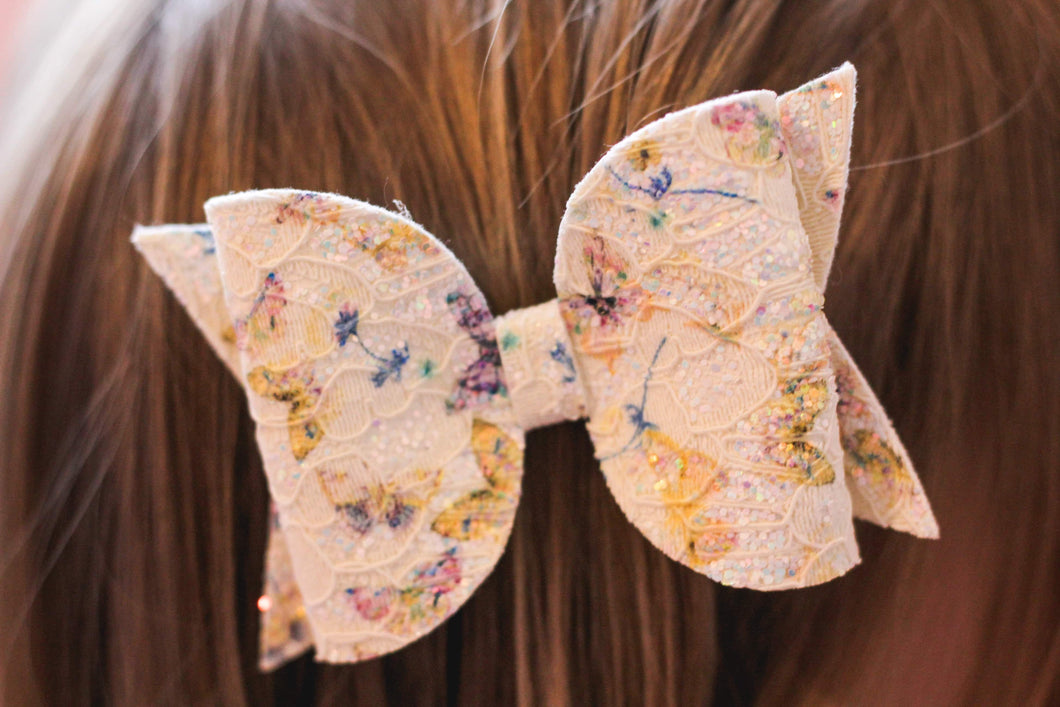 Maeve Bow - Yellow & Purple Butterfly Lace Glitter