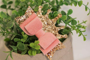 Evie Bow - Pink Velvet Princess Crown