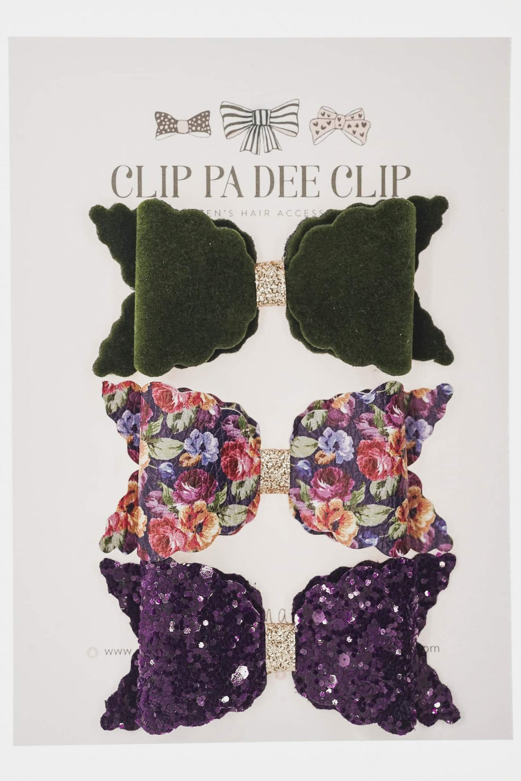 Scallop Bow - Purple, Floral and & Olive Green (You Choose)