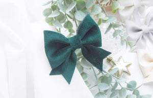 Fancy Sailor Bow- Forest Green Velvet