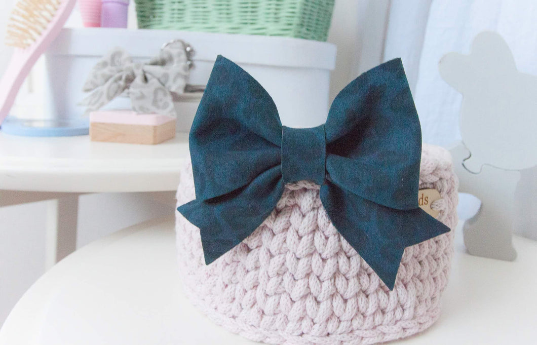 Fancy Sailor Bow- Navy Blue Leopard Print