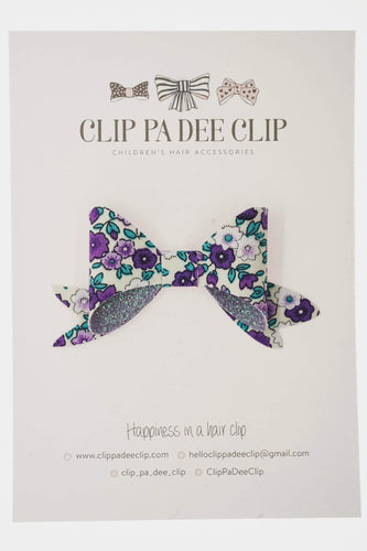 Avery Bow (Small) - Purple Floral