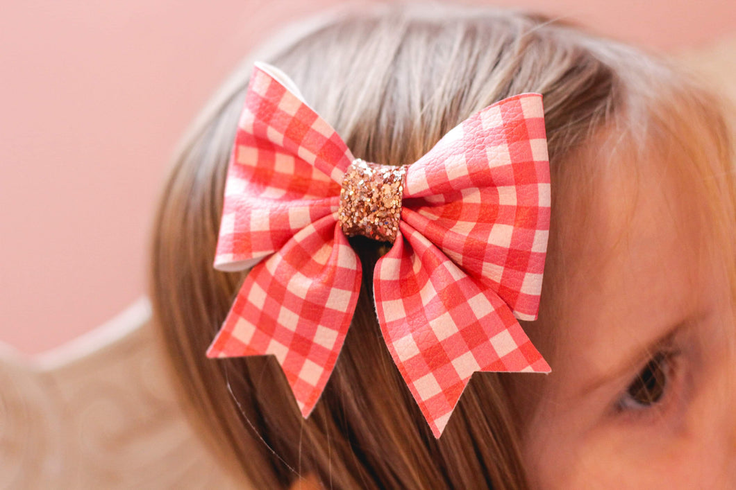 Fancy Sailor Bow - Red Gingham