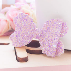 Violet Bow (Large) - OOAK Lilac Chunky Glitter