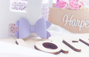 Violet Bow Hair Clip (Large)- Light Purple Leather