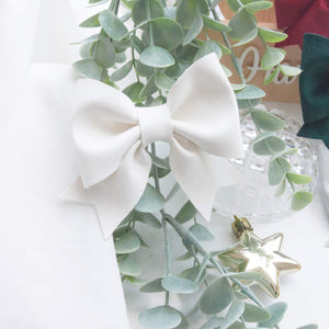 Fancy Sailor Bow- White Snow Faux Suede