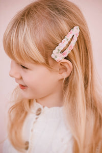 Snap Hair Clip (Large - 8cm) - Pink Floral Lace