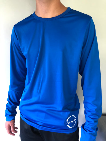 Mens Twisty Tee Long Sleeve Dry Fit in Blue