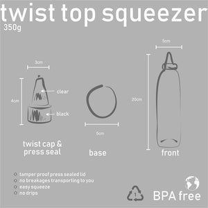Forty Six° North twist top honey squeezer bottle 350g