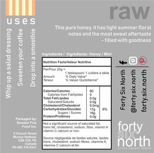 Raw Honey, Hand-Packaged, buy, Forty Six North, from Prince Edward Island, Canada