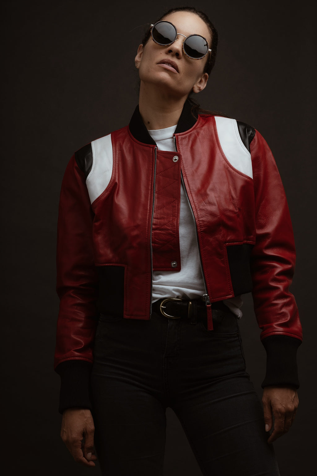 Oversized Cropped Varsity Leather Bomber
