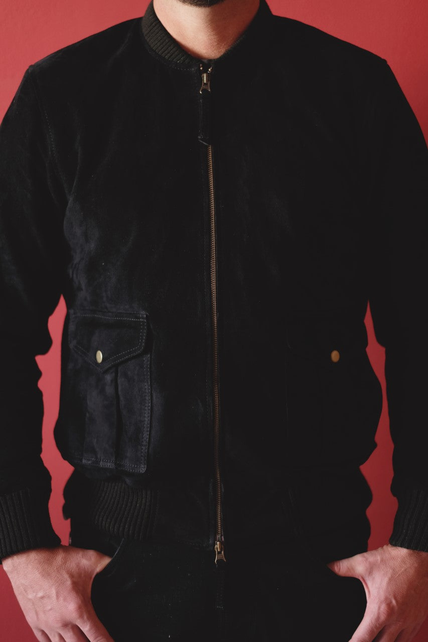 The Black Suede Bomber Jacket