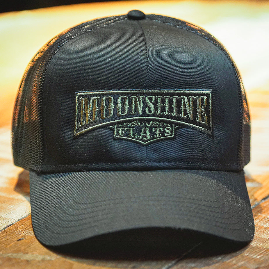 Moonshine Flats Black Trucker Hat