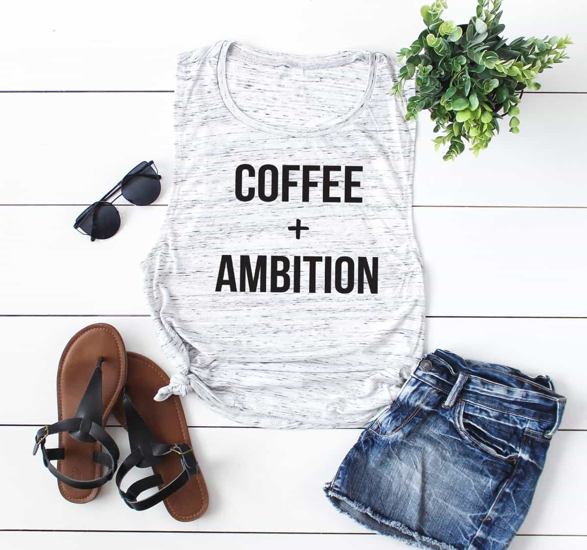 Coffee and Ambition Tank Top. Coffee Shirt.