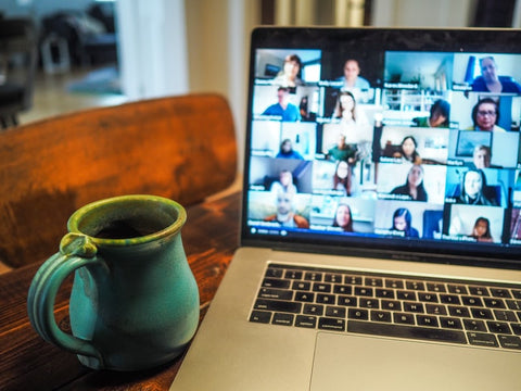 work from home video chat and mug