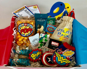 Superhero themed care package for college final exams