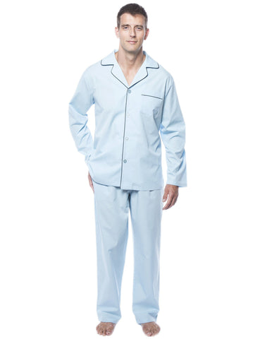 6d9929fb27 Men s 100% Woven Cotton Pajama Sleepwear Set - Crystal Blue