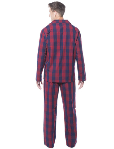 0a377e0cca Men s 100% Woven Cotton Pajama Sleepwear Set - Gingham Red Navy. Gingham  Red Navy