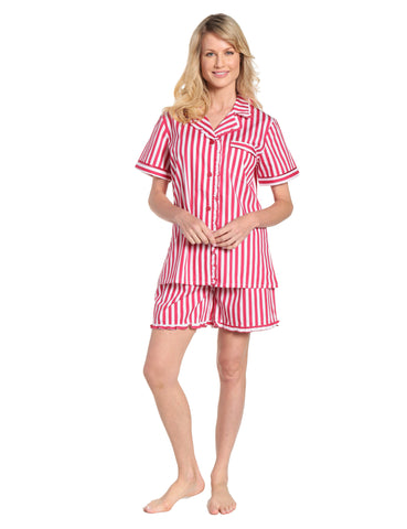 Womens Premium 100% Cotton Poplin Sort Pajama Set with Ruffles - Stripes Red -White 1df995b01