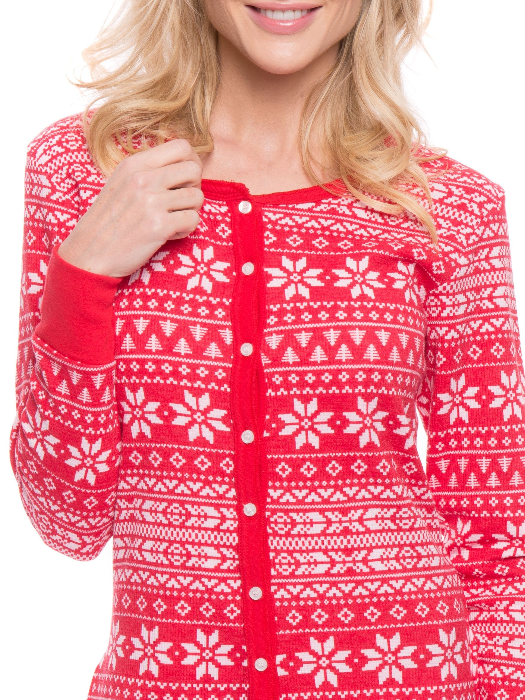 Women s Waffle Knit Thermal Onesie Pajama - Fair Isle Red White. Fair Isle  Red White e68bdbd11