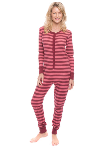 d8eeb620bcec Women s Waffle Knit Thermal Onesie Pajama - Stripes Pink