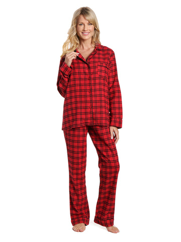Womens 100% Cotton Lightweight Flannel Pajama Sleepwear Set - Checks Red -Black 4f5075fd9