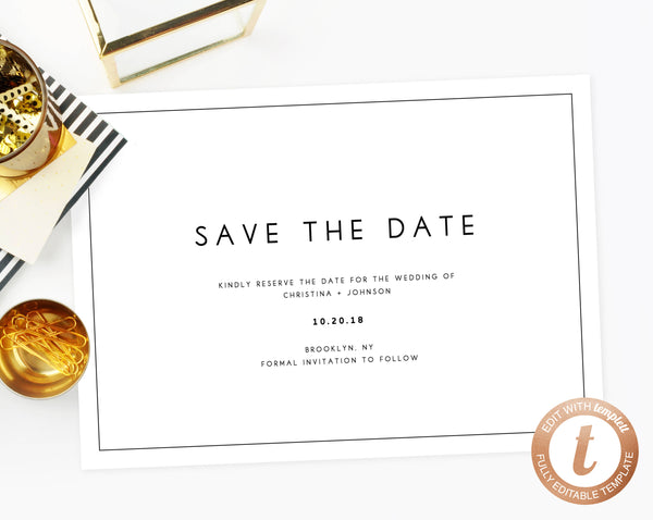 INSTANT DOWNLOAD Save the Date, Save the Date Template, Save the Date Printable, Wedding Printable, Minimalistic Wedding Template, Templett