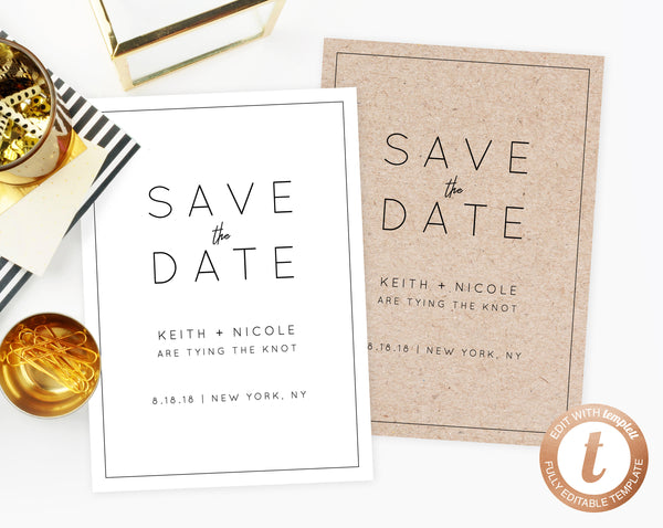 INSTANT DOWNLOAD Save the Date, Save the Date Template, Modern Save the Date Printable, Minimalistic, Simple Modern Template, Templett