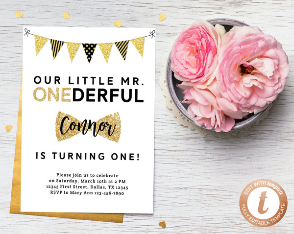 INSTANT DOWNLOAD Invitation Template, Mr  Onederful Invitations, Mister  One-derful, Baby Boy Birthday, First Birthday Invite, Templett