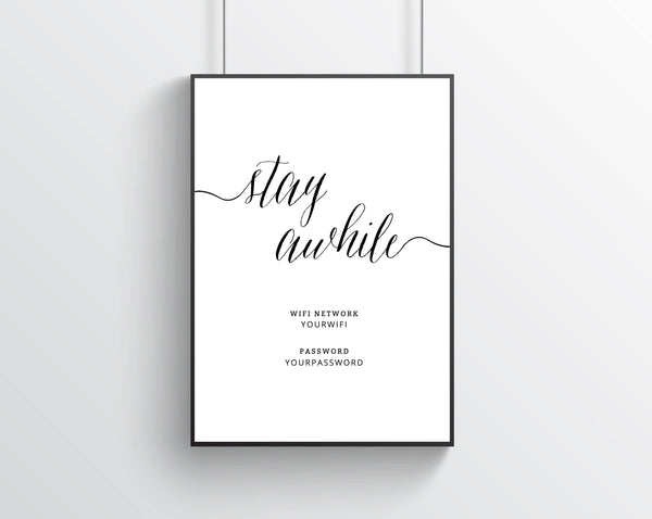 graphic relating to Printable Wifi Sign named Fast Down load Printable Visitor Space Wifi Welcome in direction of Our Dwelling Printable Wifi Pword Indicator Continue to be Awhile Dwelling Decor Wall Artwork Templett