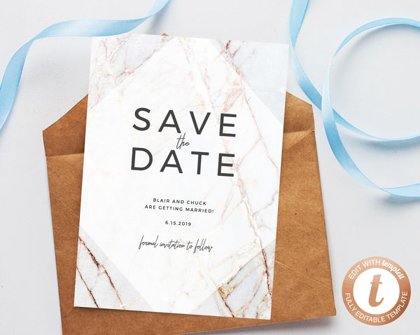 INSTANT DOWNLOAD Save the Date, Save the Date Template, Marble Save the Date Printable, Wedding Printable, Wedding Template, Templett, W03