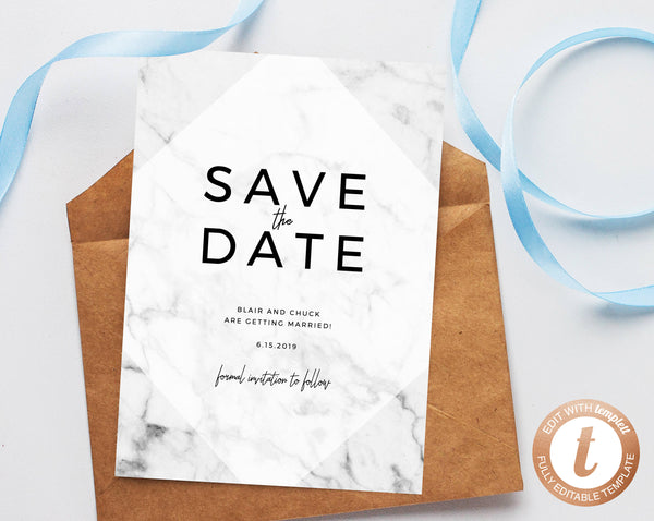 INSTANT DOWNLOAD Save the Date, Save the Date Template, Marble Save the Date Printable, Wedding Printable, Wedding Template, Templett, W07