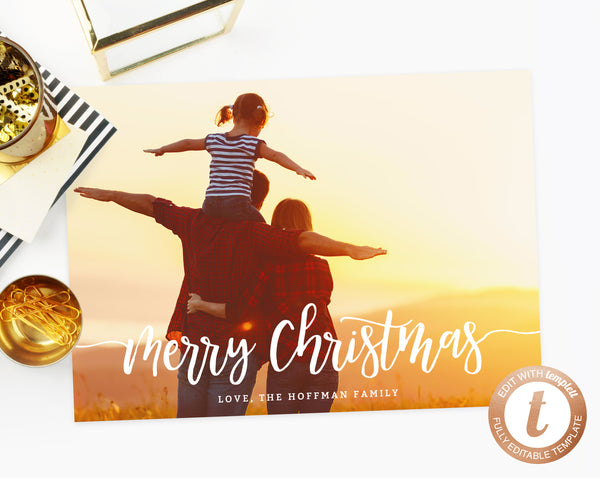 INSTANT DOWNLOAD Christmas Card, Christmas Photo Card Template, Christmas Cards with Pictures, Simple Modern Holiday Card, Templett