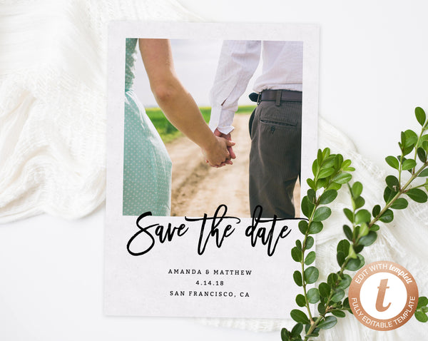 INSTANT DOWNLOAD Save the Date, Save the Date Template, Save the Date Printable, Save the Date Photo Card, Engagement Photo, Templett