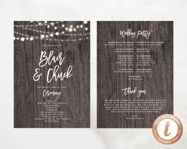 INSTANT DOWNLOAD Wedding Program Template, Printable Wedding Program, Editable Wedding Program, Rustic Wedding Programs, Templett, W01