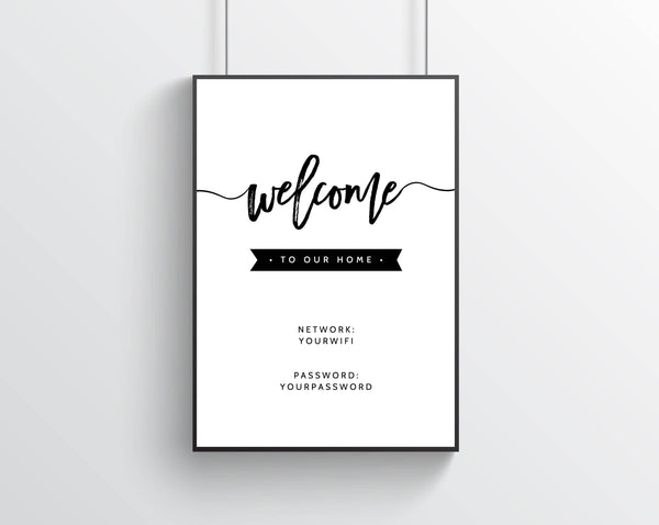 INSTANT DOWNLOAD Printable Guest Room, Wifi Password Welcome to Our Home, Wifi Password Home Decor, Modern Wall Art, Decoration, Gifts