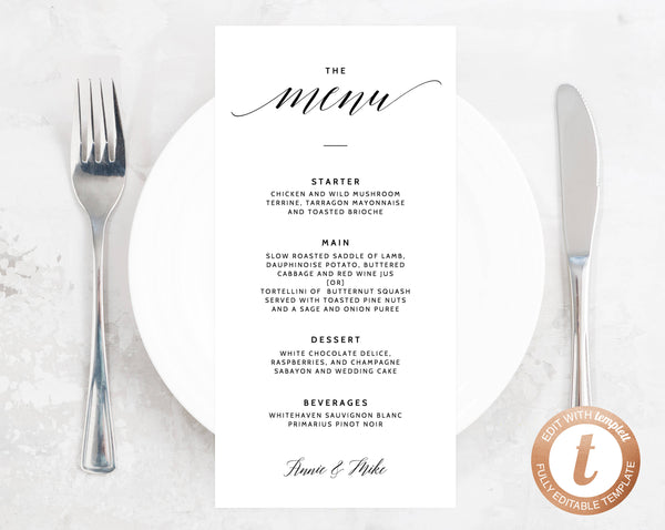 INSTANT DOWNLOAD Wedding Menu Template, Printable Wedding Menu, Minimalist Wedding Menu, Simple Wedding Menu, DIY Menu, Templett, W02