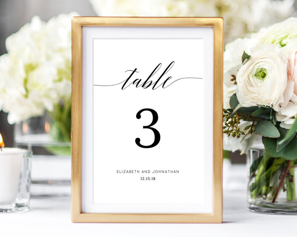 INSTANT DOWNLOAD Wedding Table Numbers, Printable Wedding Table Numbers, Table Number Card Template, Modern Calligraphy, DIY, Templett, W02